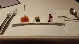 Starter (from right to left): poached Japanese yuca root with sweet cranberry juice, a stack of green and sour plum jelly!